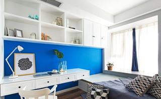 清爽蓝白撘 北欧风格榻榻米书房设计