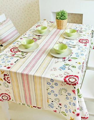 清新彩色桌布装饰图