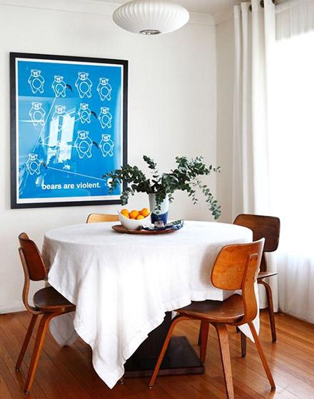 白色餐厅桌布装饰设计