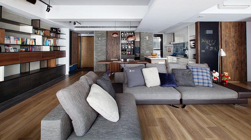 森系简约风格客厅 布艺沙发效果图