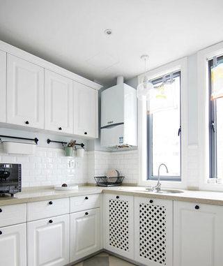 130平米美式风格白色厨房装修设计效果图