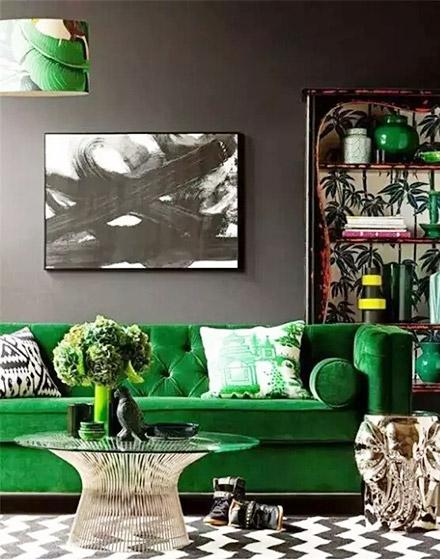 优雅客厅绿色沙发摆放图片