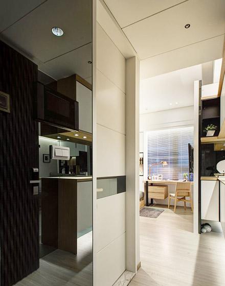 小户型单身公寓厨房推拉门图片