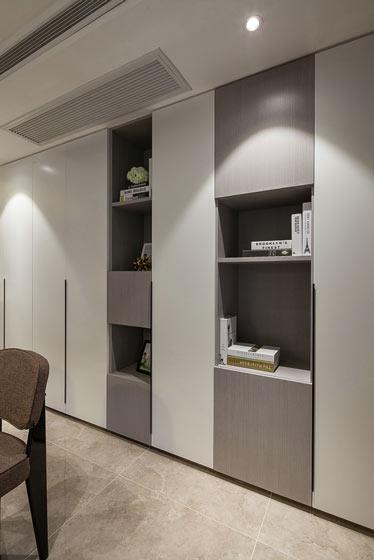 112平简约质感复式客厅书房效果图