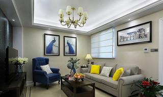 美式风格三室两厅客厅装潢设计