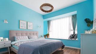 130平北欧蓝色卧室背景墙装饰效果图