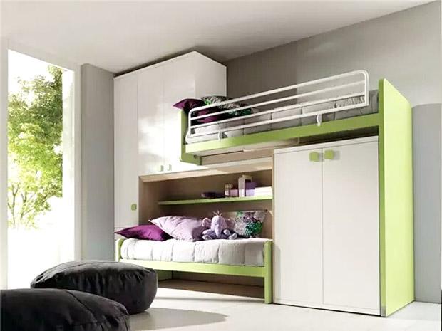 清新儿童房高低床设计图