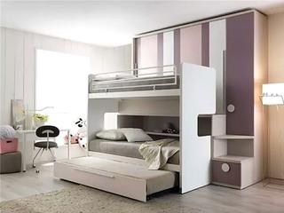 简约儿童房高低床效果图