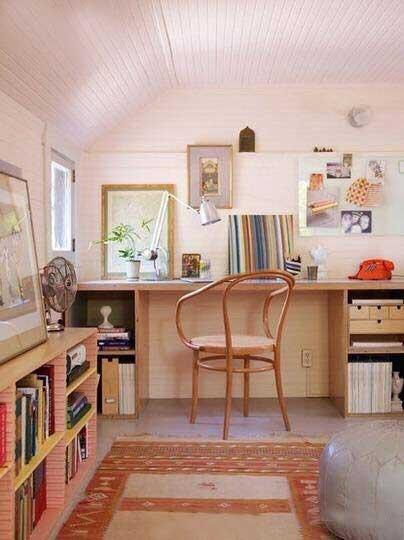 粉色系书房设计实景图