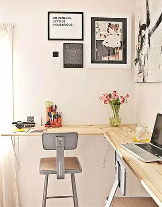 时尚木质转角书桌效果图