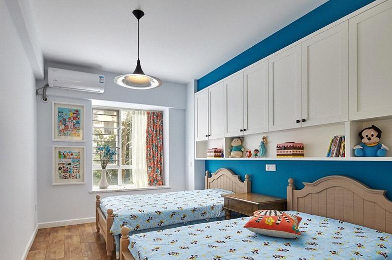 田园风格 蓝白色儿童房装潢图
