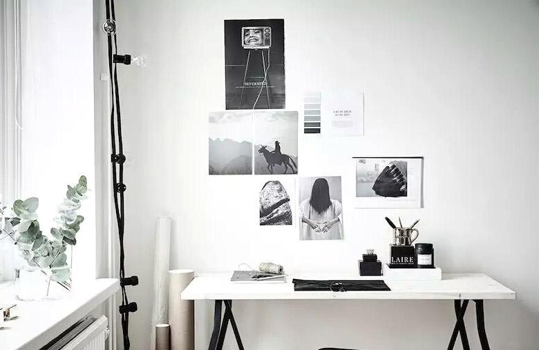 北欧风书桌 照片墙设计图
