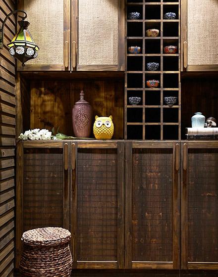 复古东南亚风情餐边柜效果图