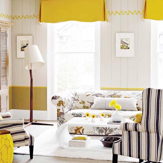 黄色系客厅装修装饰效果图