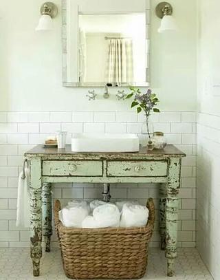 复古气质洗手区效果图装修