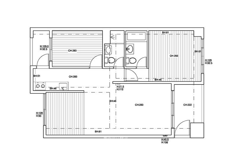 83平两居室户型平面图