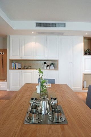 120三居室北欧装修风格原木色餐厅效果图