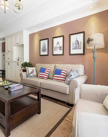 86平米美式风格两居室客厅装修_齐家网装修效果图图片