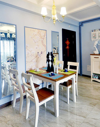 94平混搭风格三居室餐厅装潢图