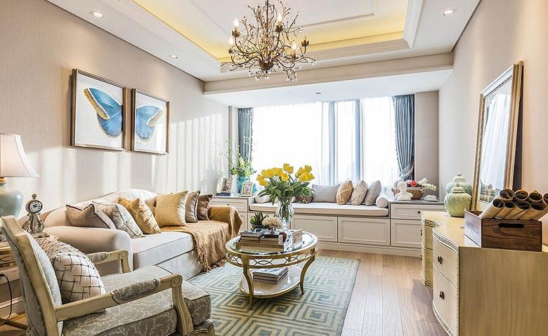 90平两室欧式风格装修客厅效果图
