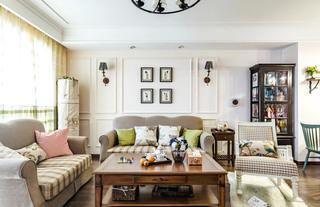 文艺美式客厅沙发效果图