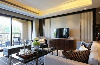 沉稳现代新中式客厅背景墙设计