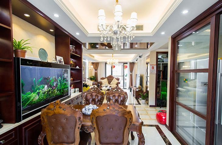 130平三室新中式装修餐厅效果图