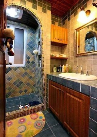 蓝色系卫生间设计布置图