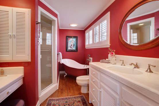 红色甜美简欧风卫生间效果图