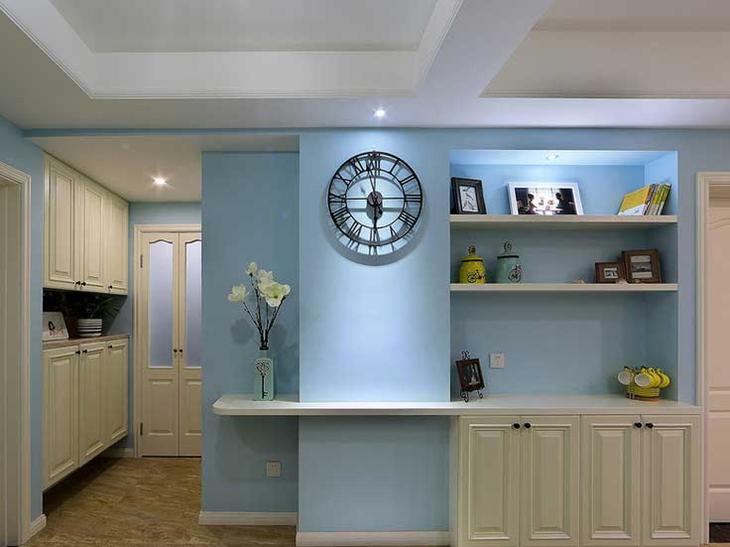 天蓝色美式餐边柜装饰设计