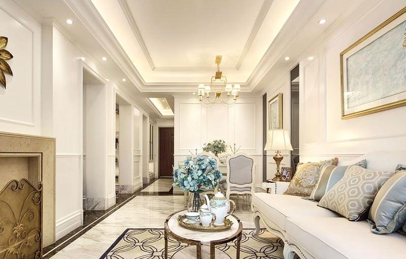 85平欧式风格两居室客厅吊顶装修