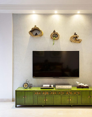 绿色古典中式电视柜效果图