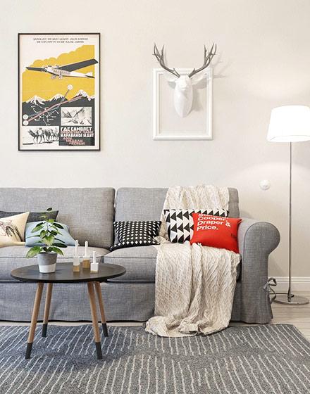 素雅舒适北欧风 布艺沙发摆放图片