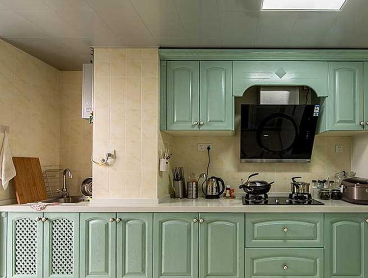 清爽田园风厨房 薄荷绿橱柜设计