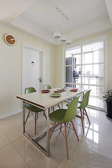 清新宜家风餐厅 绿色椅子效果图