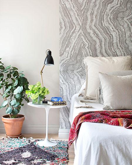 220平美式别墅卧室床头背景墙