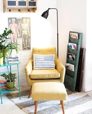 阅读区复古布艺沙发效果图