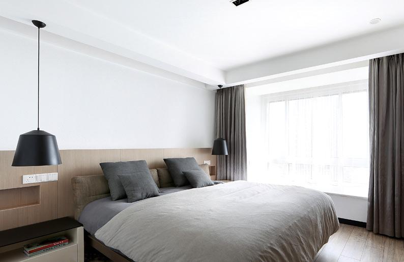 灰色系简约现代风卧室效果图