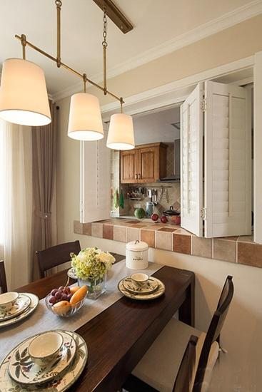 120平温馨美式风格装修餐厅设计
