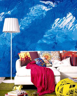 清爽看色客厅壁纸效果图