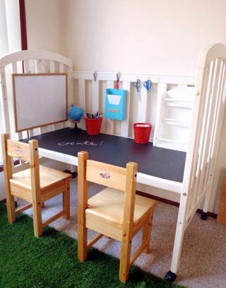 婴儿床改造儿童房书桌图片大全