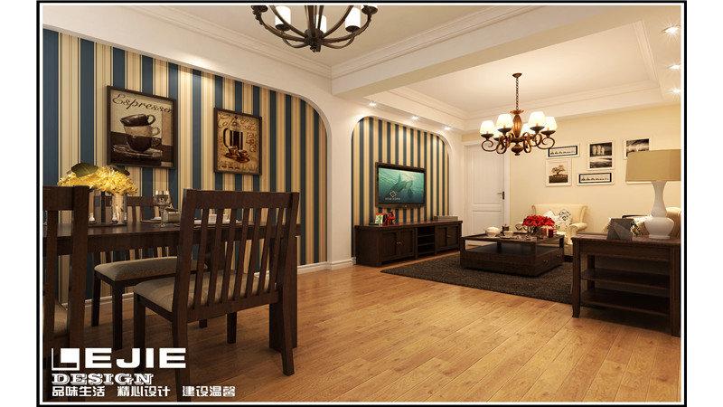 70平米美式二居室装修效果图,通河简美装修案例效果图