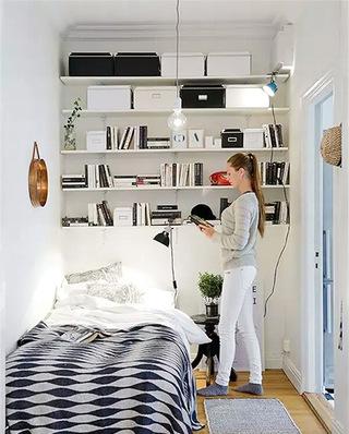 简约卧室书架背景墙装潢图