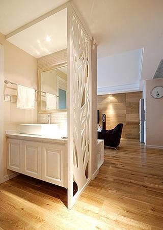 130平温馨简约风格装修洗手台设计