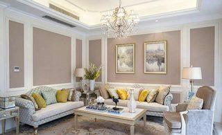 法式别墅客厅 优雅裸色系设计