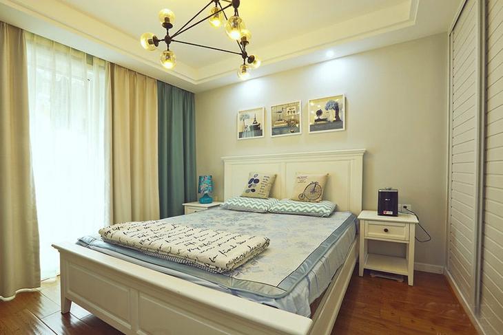 60平两室两厅装修卧室效果图