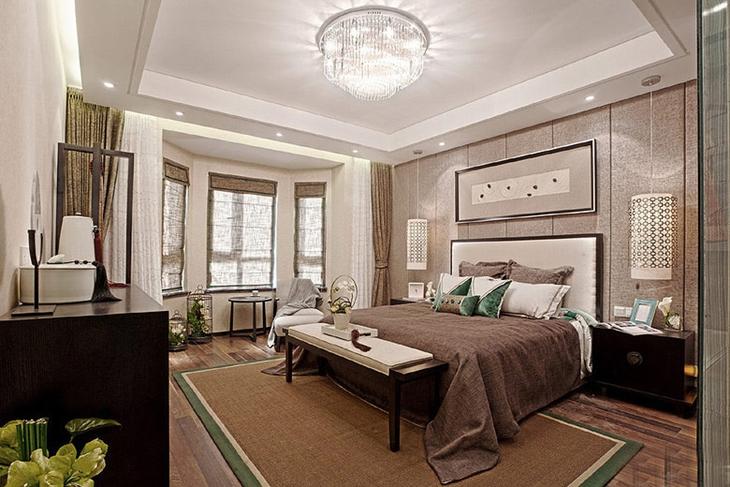优雅大气新中式卧室效果图