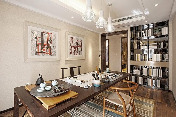 150平超具魅力的混搭风格装修书房设计