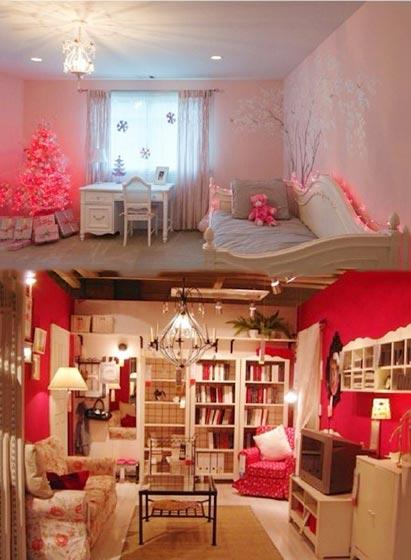 粉色女孩卧室图片大全