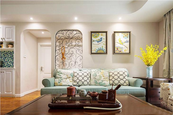 110平别致的混搭风格装修客厅设计